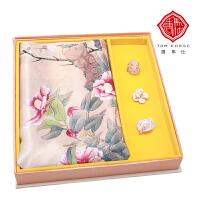 唐马仕真丝长丝巾围巾桑蚕丝丝巾扣礼盒装送女士中国风出国礼品