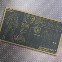 牛皮纸海报 怀旧复古大地图 钢铁侠 设计图纸 墙面装饰画46x25cm