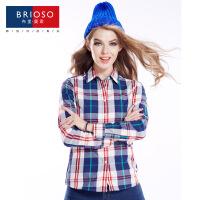 BRIOSO 2017春装新款女式纯棉长袖格子衬衫 基础百搭韩版时尚修身长袖衬衫 大码女装衬衣 WE2295