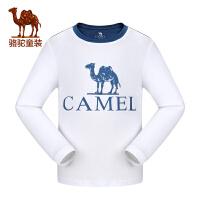 camel小骆驼童装2017秋冬季中大童长袖休闲撞色圆领T恤儿童微弹打底衫