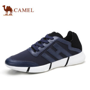 camel骆驼男鞋 春季新款 牛皮弹力布潮鞋运动风绑带休闲鞋