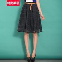 特尚莱菲 秋装新款女韩版半身裙欧根纱格子中裙高腰蓬蓬裙A字裙 WWH3092