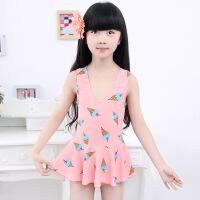包邮 2016新款儿童泳衣有胸垫连体裙式三角可爱印花韩国女童女孩泳衣