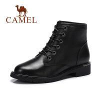 Camel/骆驼短靴 秋欧美时尚马丁靴方跟系带女靴短筒靴