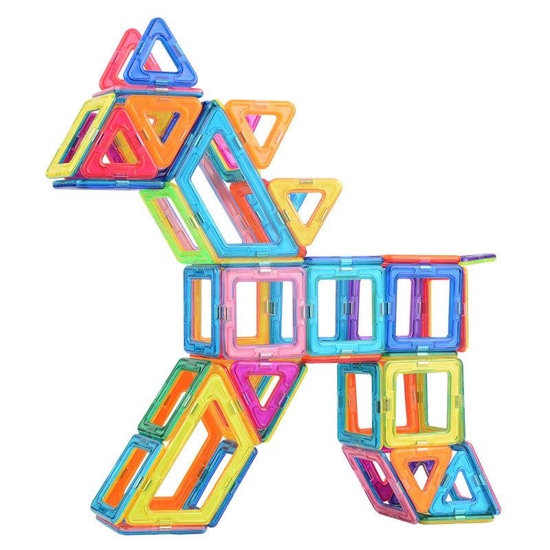 益智多变磁力片积木 益智玩具208桶装积木 幼儿智力开发diy玩具构建片