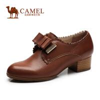 Camel骆驼女单鞋 复古 秋新款圆头羊皮蝴蝶结粗跟单鞋