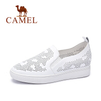 Camel/骆驼女鞋 时尚休闲 牛皮圆头镂空单鞋  新款单鞋