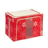 快乐鱼 双窗22L牛津布百纳箱 有盖收纳盒 整理箱 超大号 收纳箱 红花色 JJAA03-18