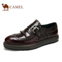 camel骆驼男鞋  秋季新款牛皮布洛克雕花男皮鞋