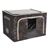 维特尔 牛津布储物箱 大码有盖衣服棉被整理箱 收纳箱 22L 80L咖啡色树叶 22L 88L 各一个 两个装