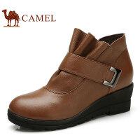 camel骆驼女靴 牛皮冬靴 休闲短靴 坡跟魔术贴女士皮靴