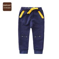 BINPAW童装男童秋装长裤 韩版修身新款全棉口袋拼色小脚裤运动裤