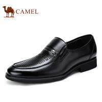 camel骆驼男鞋 新品 牛皮 商务正装套脚男士皮鞋