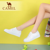 camel骆驼女鞋 新款平底小白鞋  舒适纯色简约系带单鞋