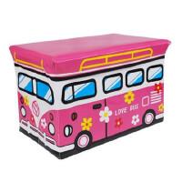 普润 公交车皮收纳凳 大号有盖多功能储物凳 儿童玩具收纳箱 粉红B37-28