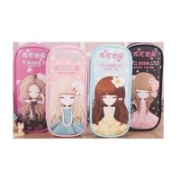 韩版可爱简约学生笔袋 花花姑娘大容量女孩文具袋创意铅笔盒