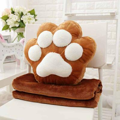 原创可爱猫爪熊掌抱枕空调毯子办公室午睡毯子空调被子靠垫腰靠