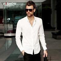 viishow男装白衬衫 男长袖春秋大码精纺男衬衫修身型棉男式衬衣潮