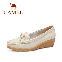 camel骆驼女鞋 2016春季新款女鞋 荔枝纹牛皮圆头蝴蝶结单鞋