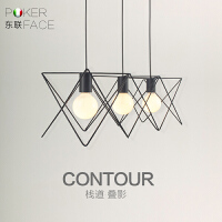 东联LED简约创意艺术个性三头吊灯铁艺餐吊灯吧台灯饰书房灯具D13