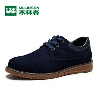 木林森男鞋日常休闲鞋头层皮鞋英伦透气男士板鞋大头鞋子MQ814277