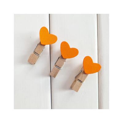 yasac迷你爱心小夹子木制木质 可爱木头七彩星星木夹照片夹 单个_爱心