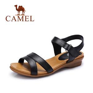 camel骆驼女鞋 休闲轻便 软面牛皮魔术贴低跟凉鞋 夏季新品女凉鞋