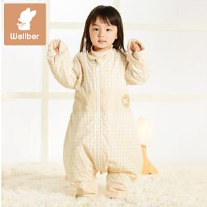 威尔贝鲁 彩棉连袖分腿睡袋 宝宝睡袋儿童睡袋防踢被 厚棉款