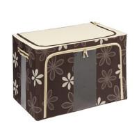 快乐鱼 双窗66L牛津布百纳箱 有盖收纳盒 整理箱  收纳箱 咖啡色