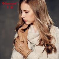 kenmont新款山羊皮手套 女士冬季保暖手套 兔毛短款手套4909