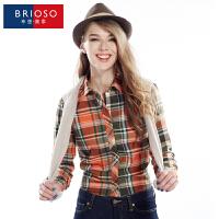 BRIOSO 春装新款女式磨毛长袖格子衬衫 韩版时尚修身出街百搭女士衬衣 大码女装 衬衣 WEMM002