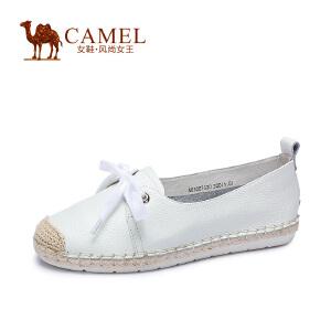 Camel/骆驼女鞋 甜美休闲 摔纹牛皮圆头舒适低跟系带渔夫鞋单鞋