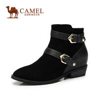 【2014新品】Camel骆驼女靴  冬季新款欧美风 羊�S小圆头牛皮扣带中跟短靴