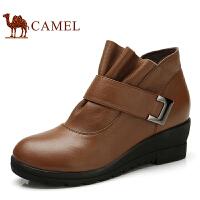 CAMEL 骆驼 冬靴女靴 休闲短靴坡跟女皮靴