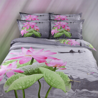梵巢家纺 纯棉三D油画立体四件套 全棉活性大版花3d被套床单四件套