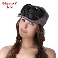 kenmont 帽子女士夏天贝雷帽 时尚英伦大蝴蝶结蕾丝鸭舌帽 鸭嘴帽0444