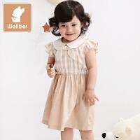 威尔贝鲁 宝宝裙子 女童连衣裙婴儿背心裙 夏款纯棉彩棉公主裙