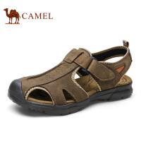 camel骆驼男鞋 夏季新款 磨砂牛皮舒适包头户外休闲鞋凉鞋男