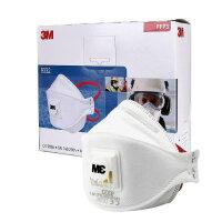 3M 9332 FFP3 带呼吸阀 防尘病毒细菌 颗粒物防护口罩防病菌粉尘防PM2.5雾霾口罩 独立包装 整盒 (10只装)
