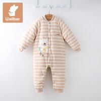 威尔贝鲁 秋冬季宝宝纯棉哈衣 新生婴儿爬服连身衣加厚保暖哈衣