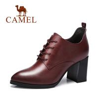 Camel/骆驼女鞋  新款 软面 系带尖头粗跟高跟深口单鞋