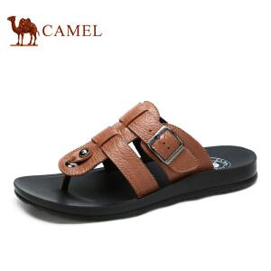 camel骆驼男鞋 夏季新款牛皮日常休闲清凉夹脚拖鞋男