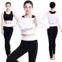 菩�q 春季新款 瑜伽服套装 女士瑜珈服 愈加服 健身服 舞蹈yoga三件套 含胸垫