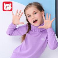 小猪班纳童装女童毛衣秋装新款纯棉打底衫中大童针织衫儿童套头衫