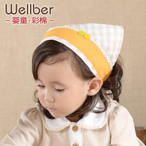 威尔贝鲁 婴儿童三角巾 宝宝头巾发带头饰 系带三角头巾 田园风