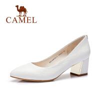 camel骆驼女鞋 优雅通勤 尖头中跟单鞋 舒适2016春季新款