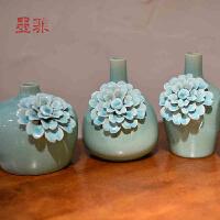 墨菲 欧式手工花瓶三件套冰裂釉陶瓷摆件 创意客厅家居装饰工艺品