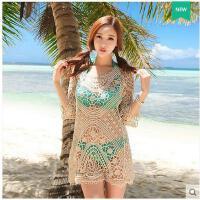 沙滩罩衫针织衫手工钩花泳假套头女士夏季衣外套中长款长袖海边度可礼品卡支付