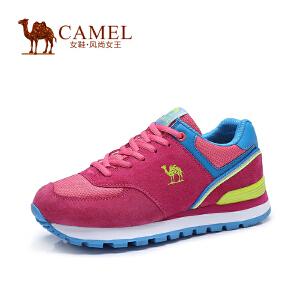 Camel/骆驼女鞋  反绒皮拼接女运动鞋 网布绑带运动鞋女休闲鞋