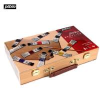 法国Pebeo贝碧欧丙烯木盒初学者套装10色+画笔调色盘手提834862C